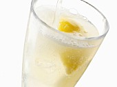 A glass of fizzing lemonade