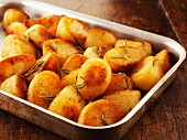 Rosemary potatoes in a roasting dish