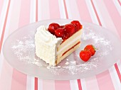 A piece of strawberry gateau