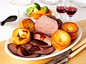 Roast beef and Yorkshire puddings (England)
