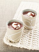 Two cups of elderberry and chocolate punch