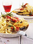 Lemon pasta with gratinated aubergines and tomato sauce