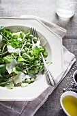 Watercress salad with peas and Parmesan
