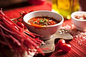 Red pasta in tomato sauce