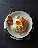 Poached egg on an asparagus medley