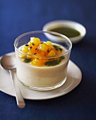 Almond pudding with passion fruit and coriander pesto
