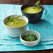Velvet pea soup with tarragon and chives