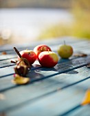 Apples on a wooden table in a garden