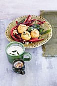 Walnut dumplings with chard
