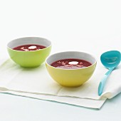 Fruity beetroot soup with horseradish
