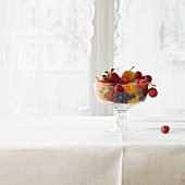 Colourful fruit in a glass bowl