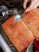 Cured salmon being prepared: salmon fillets being seasoned