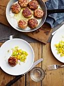 Leek and orange vegetables with venison meatballs