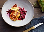 Celery and quark cakes with beetroot