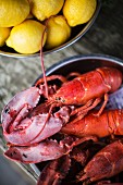 Cooked lobster with lemons
