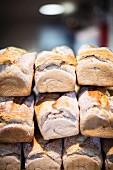 Stacks of white bread