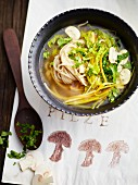 Buckwheat noodle soup with vegetables