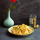 Tagliatelle with limes and physalis