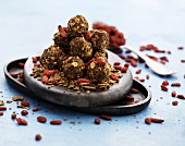 Wholemeal muesli balls with dried goji berries