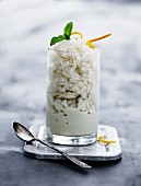 Granita with orange zest and mint