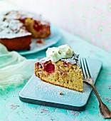 Strawberry and rhubarb cake