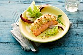 Salmon with a sauerkraut crust