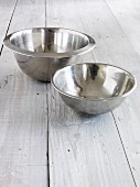 Two stainless steel mixing bowls
