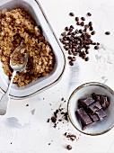 Coffee granita with chocolate