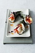 Temaki sushi with tofu and caviar