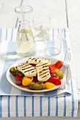 Roasted peppers with grilled halloumi (Greece)