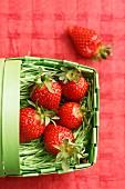 Fresh strawberries in a green plastic basket