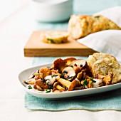 Napkin dumplings with a mushroom ragout