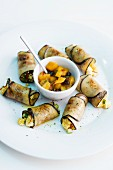 Aubergine rolls with a fruity vegetable salsa