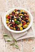 Mixed marinated olives with garlic, mustard and chilli