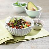 Avocado salad with du puy lentils