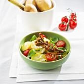 Potato salad with sautéed chanterelle mushrooms