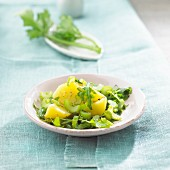 Celery with potatoes and rocket