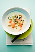 Potato soup with smoked salmon