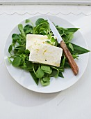Herb salad with feta and olive oil