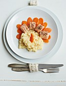 Risotto with salmon and carrots
