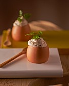 Soft-boiled eggs with a porcini mushroom cream