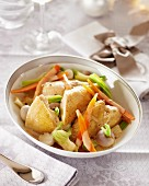 Spring chicken with vegetables in a white wine sauce