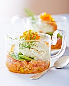Salmon salad with fennel cream and salmon caviar