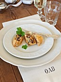 Filo pastry parcels with aubergines