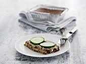Wholegrain bread with chicken liver pate and cucumber