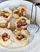Rhubarb tartlets with icing sugar