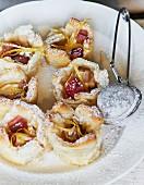 Rhubarb tartlets with icing sugar