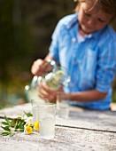 Homemade lemonade for a spring picnic