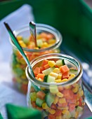 Carrot and cucumber salad with sweetcorn for a spring picnic