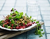 Mixed leaf salad with pomegranate seeds and walnuts